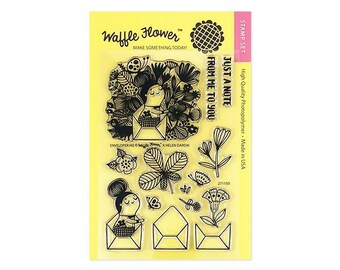 Waffle Flower ENVELOPER me by Helen Dardik 4x6 - Set of 14 CLEAR Photopolymer stamps #271150