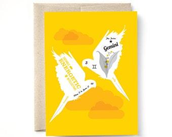 Gemini Zodiac Birthday Card The Twins, Birthday greeting card May June Birthday