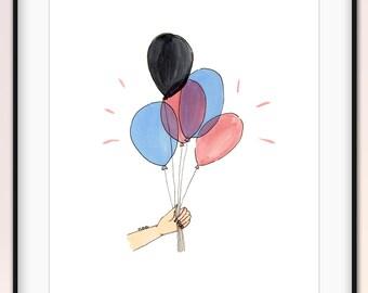 Hand holding balloons illustration, cute, bright art wall decor