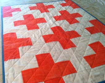 "Hand Dyed Organic Plus Sign Quilt 36"" x 48"" Crib Sized Quilt"