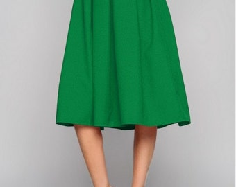 Green midi skirt  for woman Woman skirt Business woman Folds skirt Spring skirt Summer Skirt Autumn green skirt
