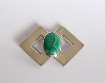 Geometrical malachite sterling silver brooch