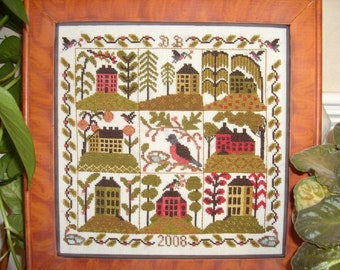 Around The Robins Nest counted  cross stitch pattern
