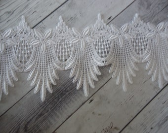 "4"" Wide Rayon Venise Lace Trim in White - Per Yard"