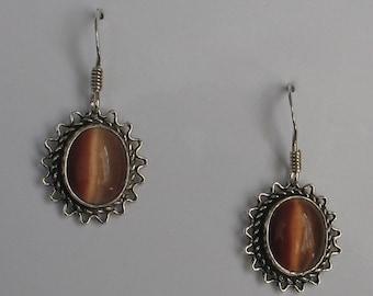 SALE Jewelry Rescue Vintage Sterling  Earrings Tiger Eye Like Stone