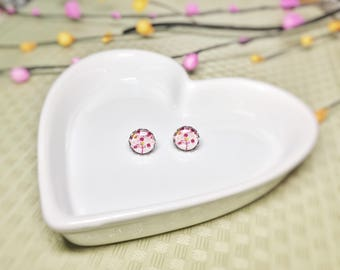 Cherry Blossom 12mm Glass cabochon Stud Earrings