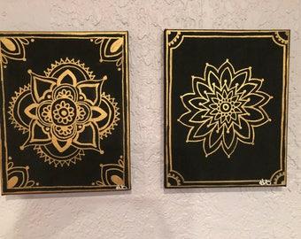 Gold and Black Mandala Canvas
