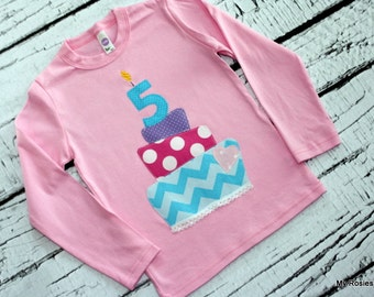 Girls birthday shirt ... cake with 1st 2nd 3rd 4th 5th 6th birthday number / age candle ... 12m 18m 2 4 6 8 ...  short or long sleeves
