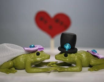 Frog Wedding Cake Topper - Small - Frog Bride and Groom - Animal Cake Topper - Cute - Adorable - Unique Cake Topper - Fairytale Wedding