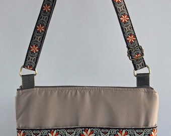 Fabric Crossbody Bag, Microfiber , Machine Washable Beige with Orange/Cream Ribbon