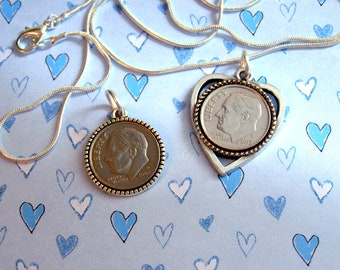"Kids 10-12 Years-""Tween"" BIRTHDAY COIN Necklace-Sterling Silver Chain-2008 Dime-Son, daughter,grandson,grandaughter, niece, nephew gift."