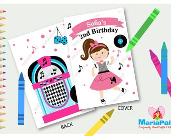 50's Coloring Books, Fifties Music Party,  Sock Hop Personalized Coloring Books, Fifties Party Favor A1252