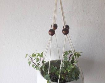 Cotton macrame plant hanger- 23'', 33'' or 43'' long-Modern Macrame beaded indoor plant holder