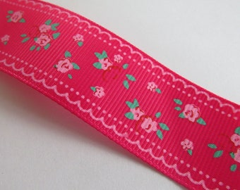 Pretty dark pink and green floral Ribbon