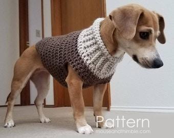 Crochet Pattern / Dog Sweater / (2 sizes - Small & Medium) Seamless Earhart Design / PDF 1214