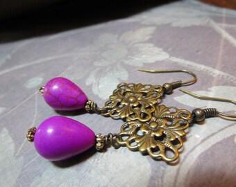 Freshwater Pearl Copper Filigree Earrings #1129