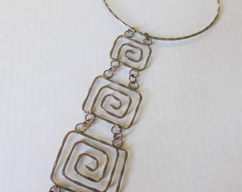Vintage 60's Sterling Silver Greek Key Pendant Necklace, Artisan, Hand Hammered Silver, Abstract, Mid Century Modern