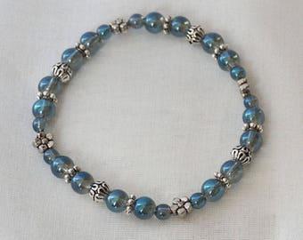 Blue-coated nature clear quartz bracelet