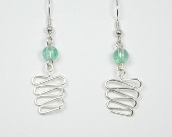 Sea Foam Glass and Silver Wirework Earrings