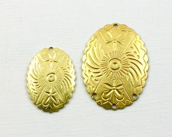 Western Concho style brass jewelry charms. 2 sizes (Bag 2).