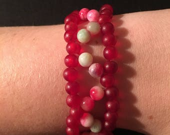 Red and Pink Green Jade Streach Cord Bracelet