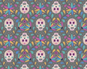 Paracas - A204.3 - Skulls On Grey - from Lewis & Irene