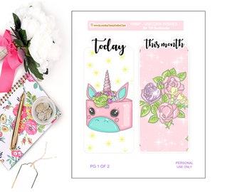 TRAVELER'S NB B6 - Bookmarks - Unicorn Wishes - Bookmarks, traveler's nb bookmarks, B6 Bookmarks, traveler's NB inserts, Unicorns, Bookmarks