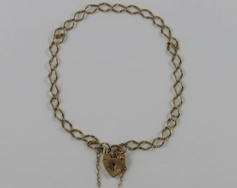 "7 1/2"" 9K Gold Vintage Charm Bracelet With Heart Padlock Clasp & Safety Chain"