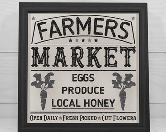 Farmers Market Sign 18 | Cutting & Printable File | Digital Instant Download | svg | eps | dxf | png | Vintage | Farmhouse | Eggs | Honey