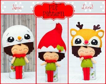 PDF Pattern. Elf boy with Christmas hats: Elf hat, Snowman hat and Rudolf hat