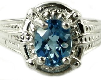 Swiss Blue Topaz, Sterling Silver Ring, SR284