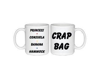 Set of Princess Consuela Bananahammock and Crap Bag Mugs - Printed On Both Sides - Friends TV Show Coffee Mug -  F.R.I.E.N.D.S - 048B