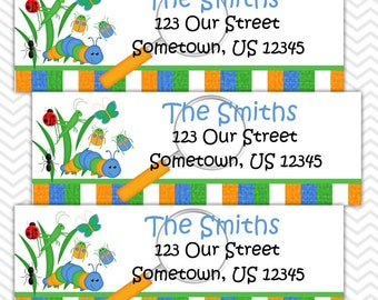 Back Yard Bugs - Personalized Address labels, Stickers