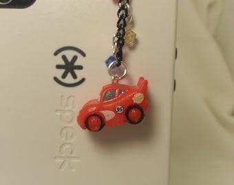 Cars phone charm, dust plug charm, Lighting McQueen charm, dust plug , Kawaii phone charm, Kawaii, headphone jack plug, iphone charm