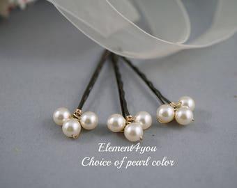 Pearl bobby pins, Hair pins, Bridal hair piece, Flower girl, Bridesmaid gift, Wedding hair accessories, hand wired pins, Pearl hair clips