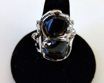 Alpaca Silver Ring with Onyx