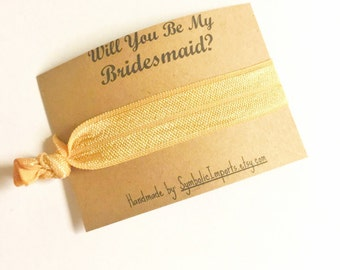 Bridesmaid Proposal - Bridesmaid Gift - Hair Tie - Will you be my Bridesmaid Gift - Gold Hair Tie Favor - Bridal Party - Gold Hair Tie