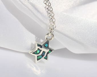 star of david necklace opal chai necklace - Jewish jewelry - Chai hebrew necklace - jewish chai necklace - hebrew chai necklace