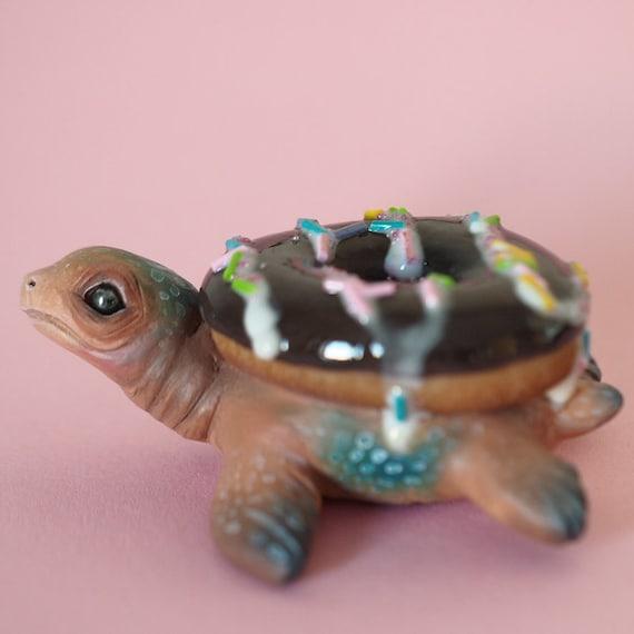 DONUT TURTLE - Handmade Polymer Clay Sculpture