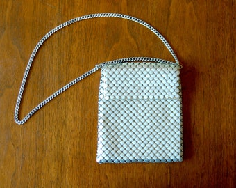 silver mesh purse - vintage 70s whiting & davis matte metallic mod disco chain mail handbag chunky metal strap shoulder bag mid century gray