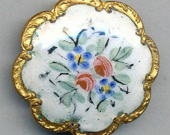 Antique Enamel Button - Painted Floral on  White Scallop Border- ca. 1890's