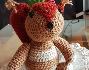Very cute handmade knitted squirrel toy