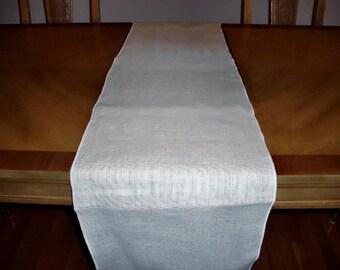 """14"""" x 96"""" White Burlap Table Runner (Serged edges)"""