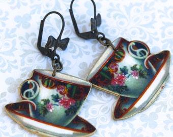 Color Teacup Earrings - Teacup - Tea Party - Tea Time - Mad Hatter - Alice in Wonderland - Dangle Earrings - Shrink Plastic - Victorian Era