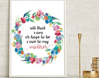 Mother's Day Gift, Mother's Day Print, Mum Definition, Mother's Day Present, Gift For Mom, Mum Print, Mothers Day Print, Floral Mothers Day