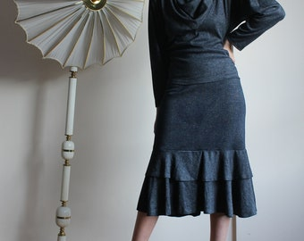 Beautiful Vintage 2-piece Suit with Ruffled Hemline, Cowl Neck, and Shoulder Pads