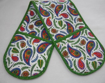 """Floral Paisley Casserole Oven Mitt, 32"""" Long, 7.5"""" Wide, Four Pockets-7"""" Deep, Double Oven Mitt, Two Handed Potholder, Two Handed Oven Mitt"""