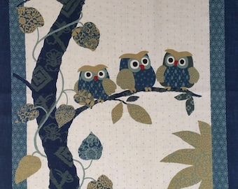 New Japanese cotton Noren quilting panel cloth - owls