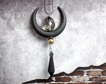 Black Crescent Moon Necklace - Crescent Moon Necklace - Rubber Moon Necklace - Gothic Moon Necklace - Free US Shipping