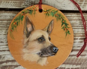Leather Christmas ornament with German shepherd